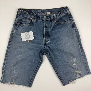 Levi's Shorts - Levi's 501 Button Fly Distressed Jean Shorts
